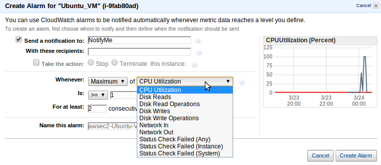 create an alarm g Deploy an Amazon EC2 instance in the Free Usage Tier