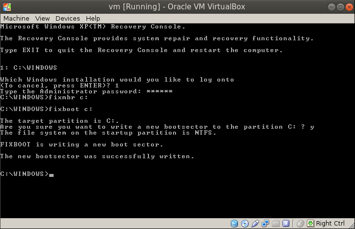 fixboot fixmbr Migrating a VM from VMware Workstation to Oracle VirtualBox
