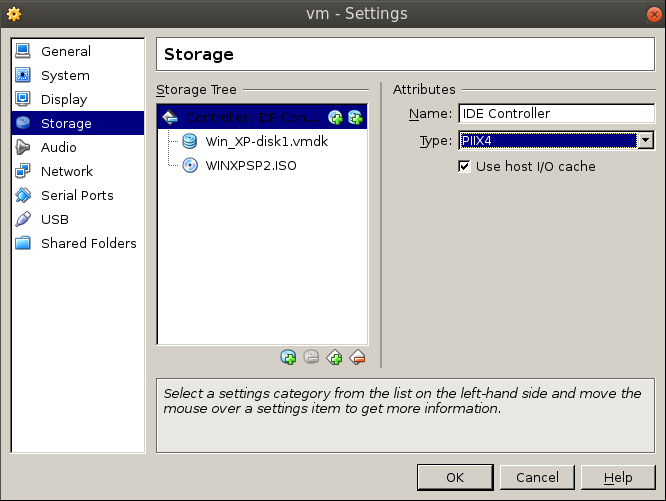 storage settings to ide Migrating a VM from VMware Workstation to Oracle VirtualBox