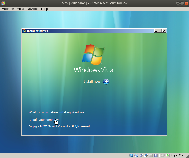 vista repair your computer Migrating a VM from VMware Workstation to Oracle VirtualBox