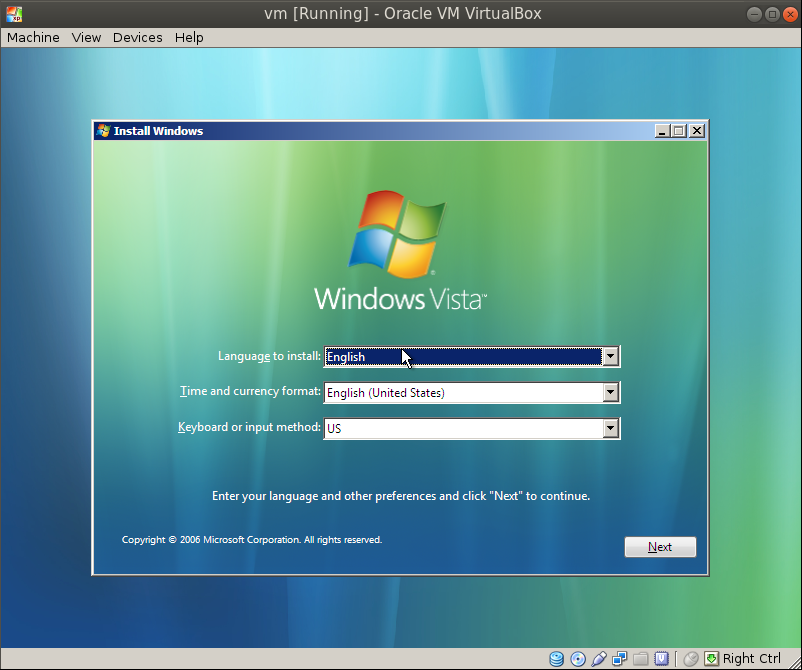 win vista install windows Migrating a VM from VMware Workstation to Oracle VirtualBox