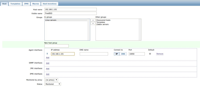 zabbix add freebsd host Monitor Different Systems with Zabbix