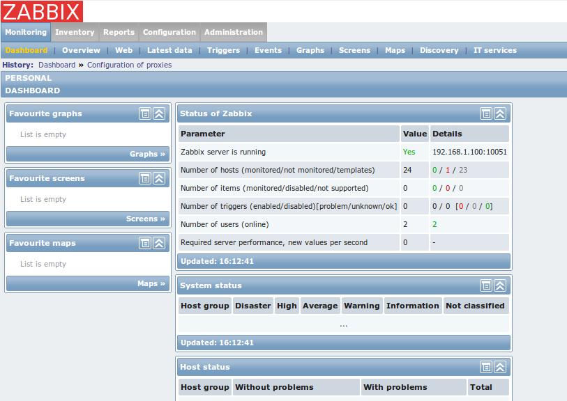 zabbix web front dashboard Monitor Different Systems with Zabbix