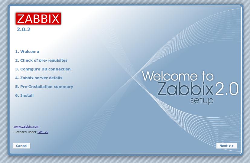 zabbix web front end setup page Monitor Different Systems with Zabbix