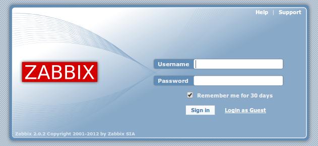 zabbix web front login page Monitor Different Systems with Zabbix