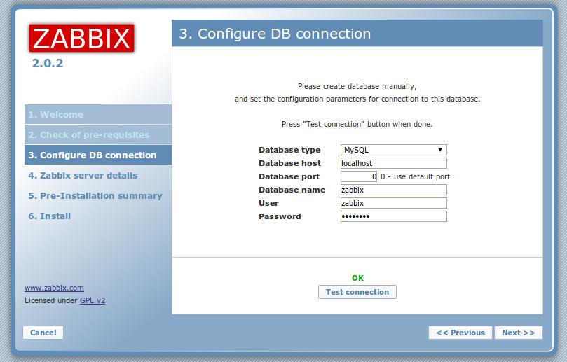 zabbix web front mysql settings Monitor Different Systems with Zabbix