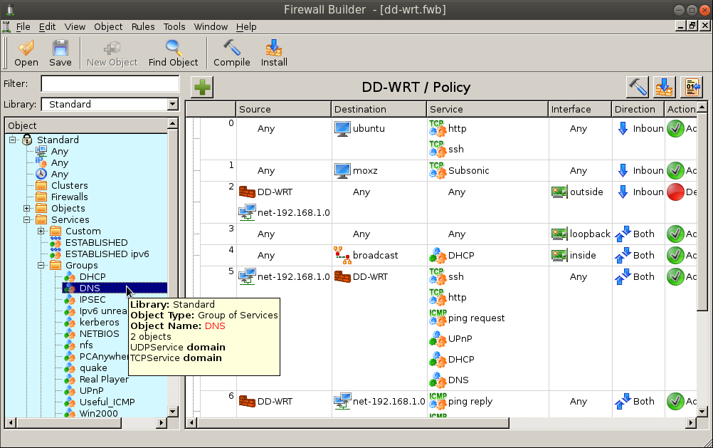 DNS group fwbuilder Use FWBuilder to Deploy an IPtables Firewall to a DD WRT Router