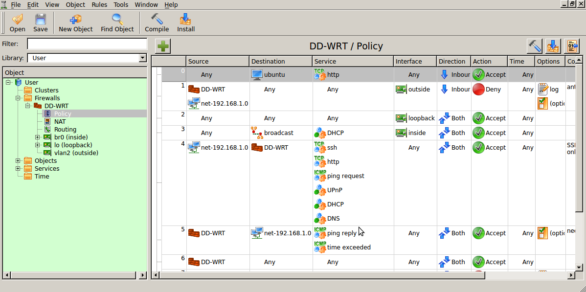 Forward for web server policy Use FWBuilder to Deploy an IPtables Firewall to a DD WRT Router