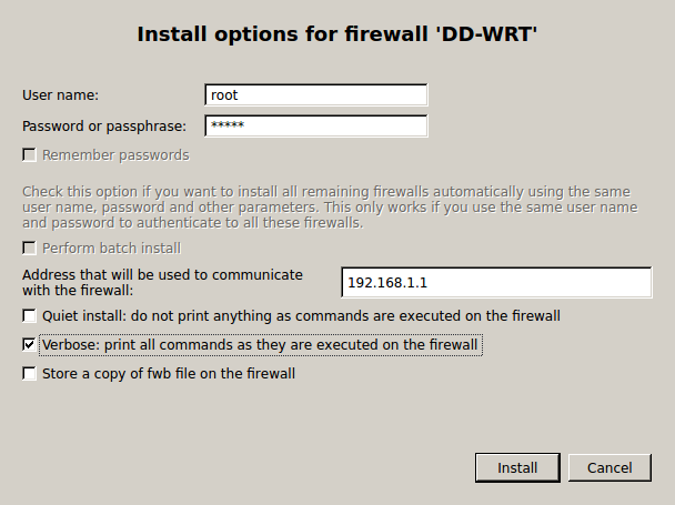 Install Options for dd wrt Use FWBuilder to Deploy an IPtables Firewall to a DD WRT Router