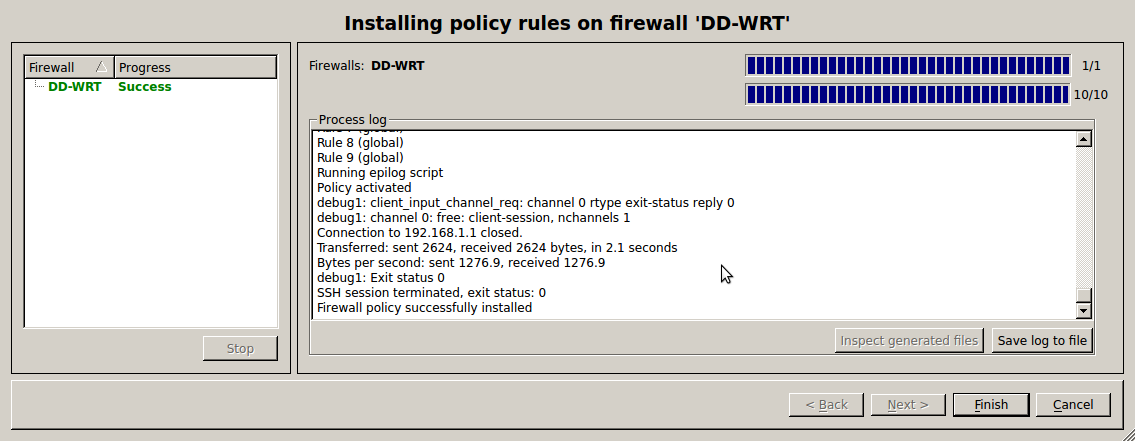 Successful install Use FWBuilder to Deploy an IPtables Firewall to a DD WRT Router