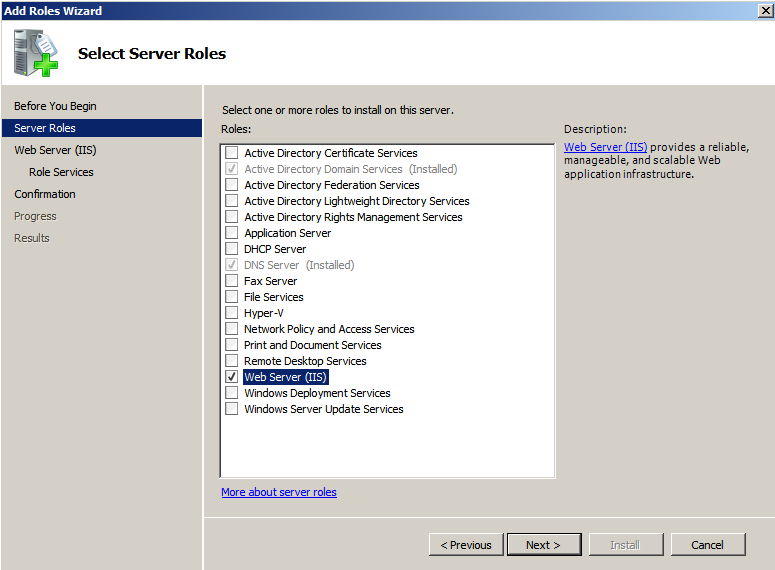 Web server selected roles wiz Deploying a Test Windows Environment in a KVM Infrastucture