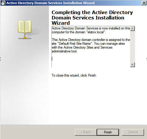 ad setup finished ad wizard Deploying a Test Windows Environment in a KVM Infrastucture