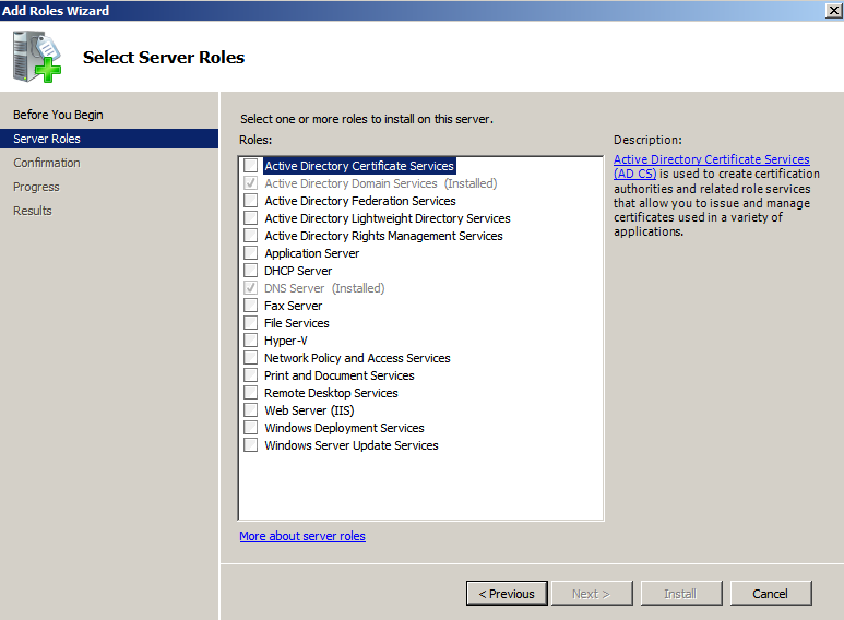 add roles wizard Deploying a Test Windows Environment in a KVM Infrastucture