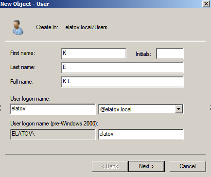 add user dialogue Deploying a Test Windows Environment in a KVM Infrastucture