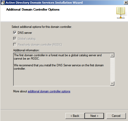 additional domain controller options Deploying a Test Windows Environment in a KVM Infrastucture