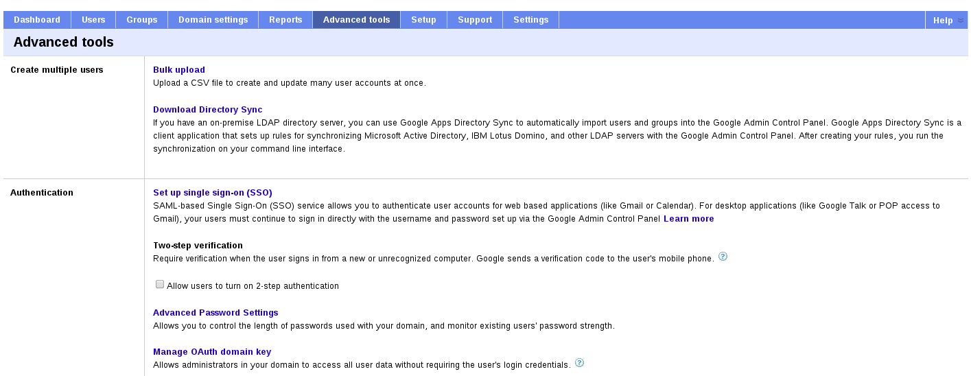 adv tools tab gapps Set up simpleSAMLphp as an IdP to be Used in an SP Initiated SSO with Google Apps