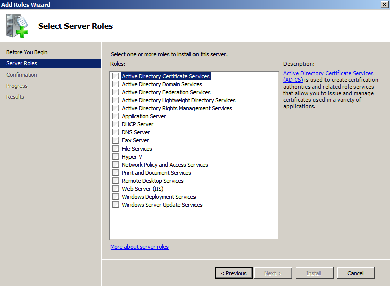 blank roles win2k8 Deploying a Test Windows Environment in a KVM Infrastucture