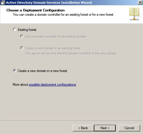 choose deployment conf ad wizard Deploying a Test Windows Environment in a KVM Infrastucture