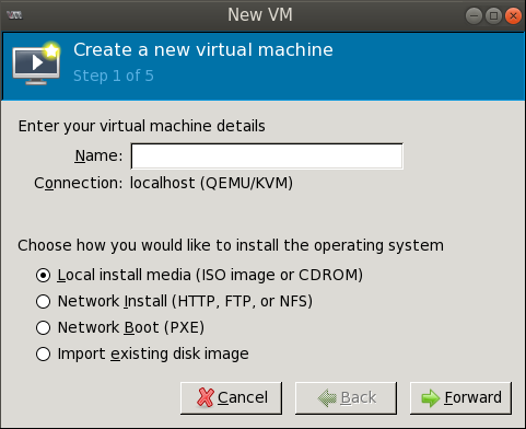 create new vm wizard step1 Deploying a Test Windows Environment in a KVM Infrastucture