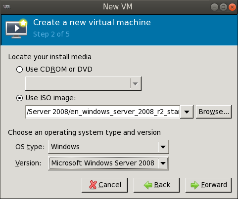 create new vm step2 filled out Deploying a Test Windows Environment in a KVM Infrastucture
