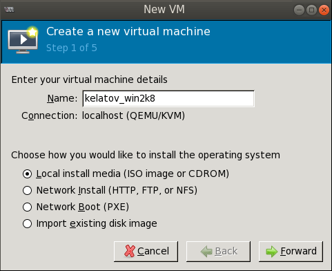 create new vm wizard step1 filled out Deploying a Test Windows Environment in a KVM Infrastucture