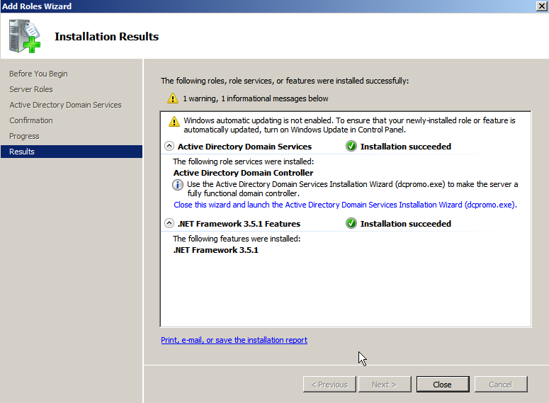 dc install finished Deploying a Test Windows Environment in a KVM Infrastucture