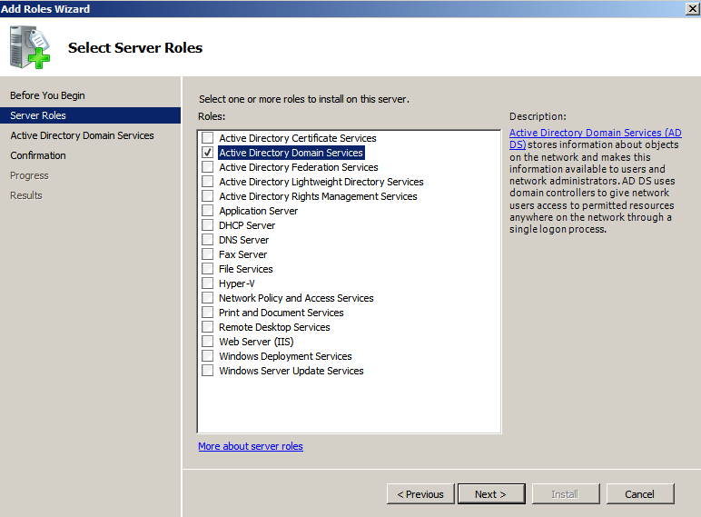 dc role selected Deploying a Test Windows Environment in a KVM Infrastucture