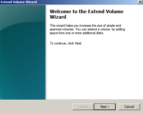 extend volume wizard Extending the System Drive on Windows 2008 Running Under KVM
