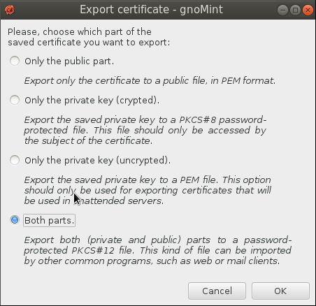gnomint export format Setup Your Own Certificate Authority (CA) on Linux and Use it in a Windows Environment