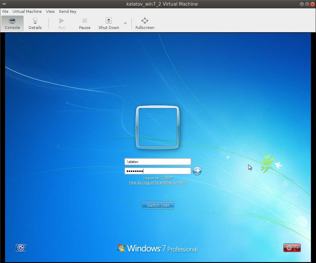 login to local windows7 client Deploying a Test Windows Environment in a KVM Infrastucture