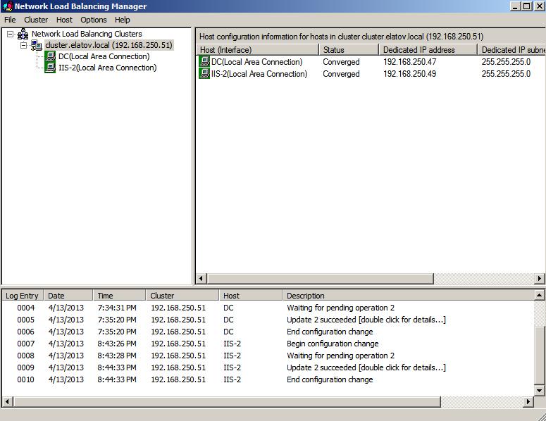 nlbmgr converged node2 Load Balancing IIS Sites with NLB