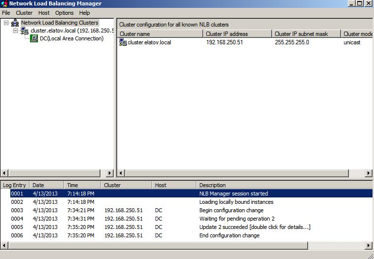 nlbmgr node1 added Load Balancing IIS Sites with NLB