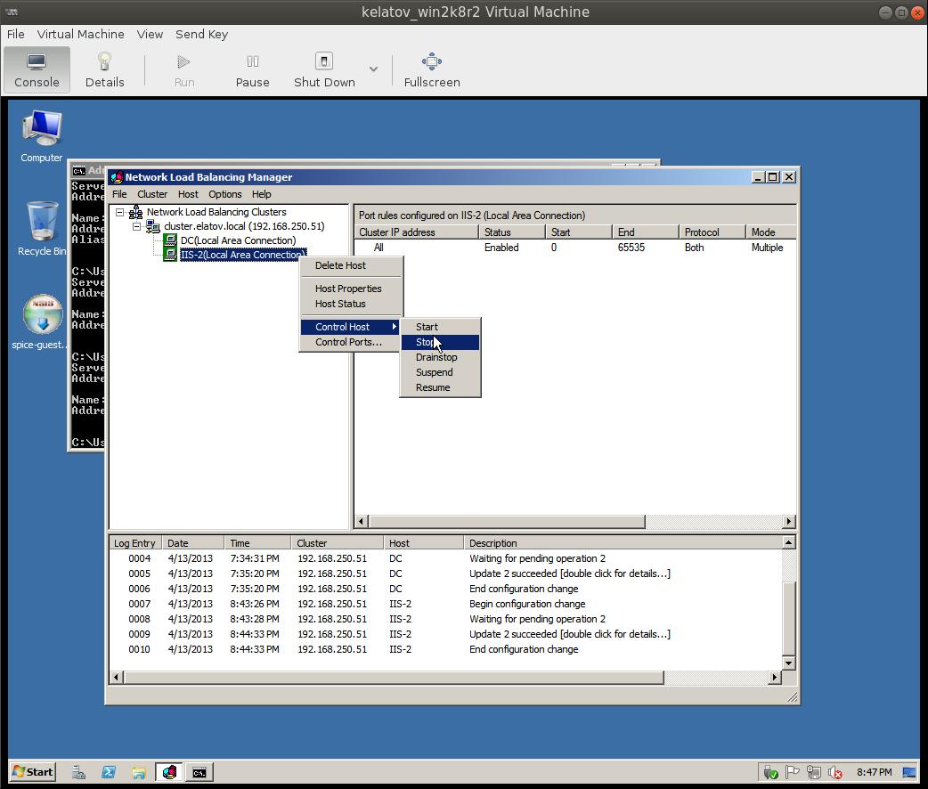 nlbmgr stop host Load Balancing IIS Sites with NLB