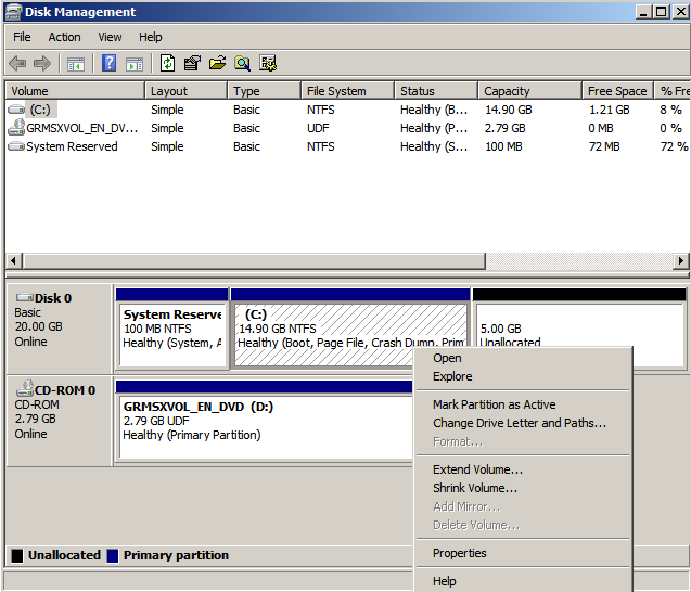right click c part Extending the System Drive on Windows 2008 Running Under KVM