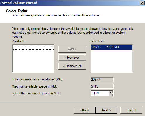 select disks extend volume Extending the System Drive on Windows 2008 Running Under KVM