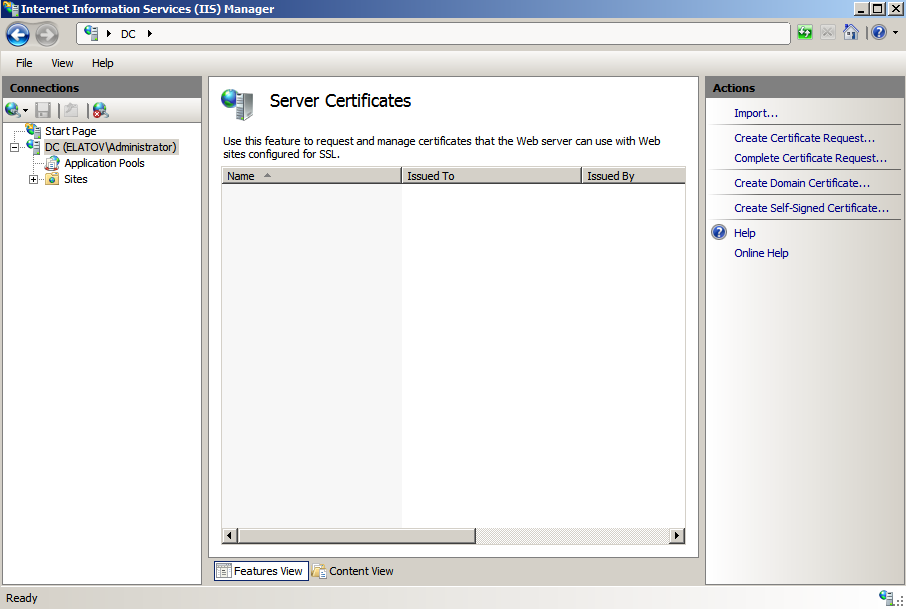 server certificated from iis Deploying a Test Windows Environment in a KVM Infrastucture