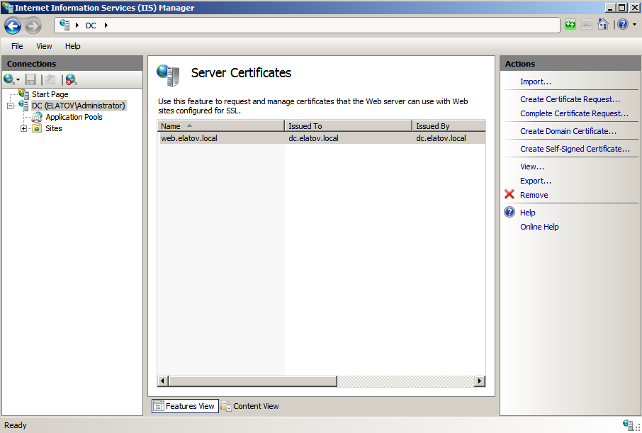 server certificates self signed cert created Deploying a Test Windows Environment in a KVM Infrastucture