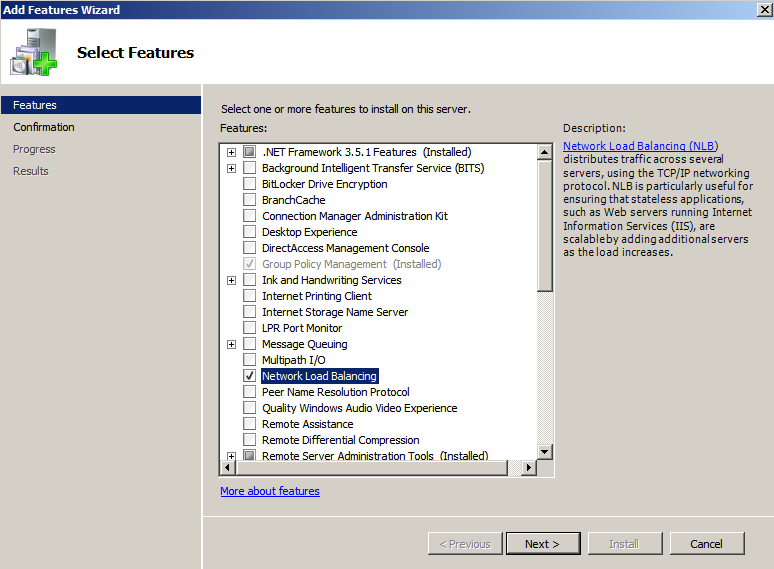 server manager NLB selected Load Balancing IIS Sites with NLB