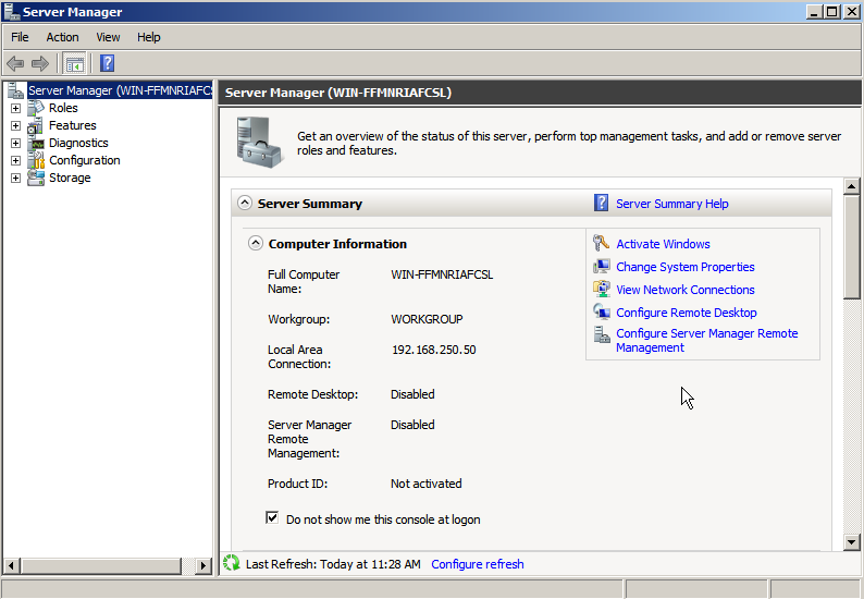 server manager started Deploying a Test Windows Environment in a KVM Infrastucture