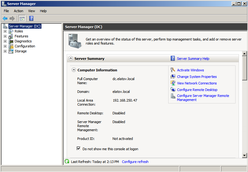 servermanager started1 Deploying a Test Windows Environment in a KVM Infrastucture