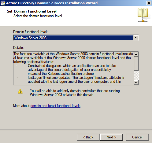 set domain functional level ad wiz Deploying a Test Windows Environment in a KVM Infrastucture