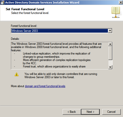 set forest functionality lelel ad wiz Deploying a Test Windows Environment in a KVM Infrastucture