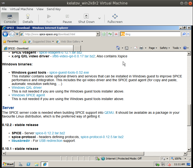 spice guest windows tools from vm in IE Deploying a Test Windows Environment in a KVM Infrastucture