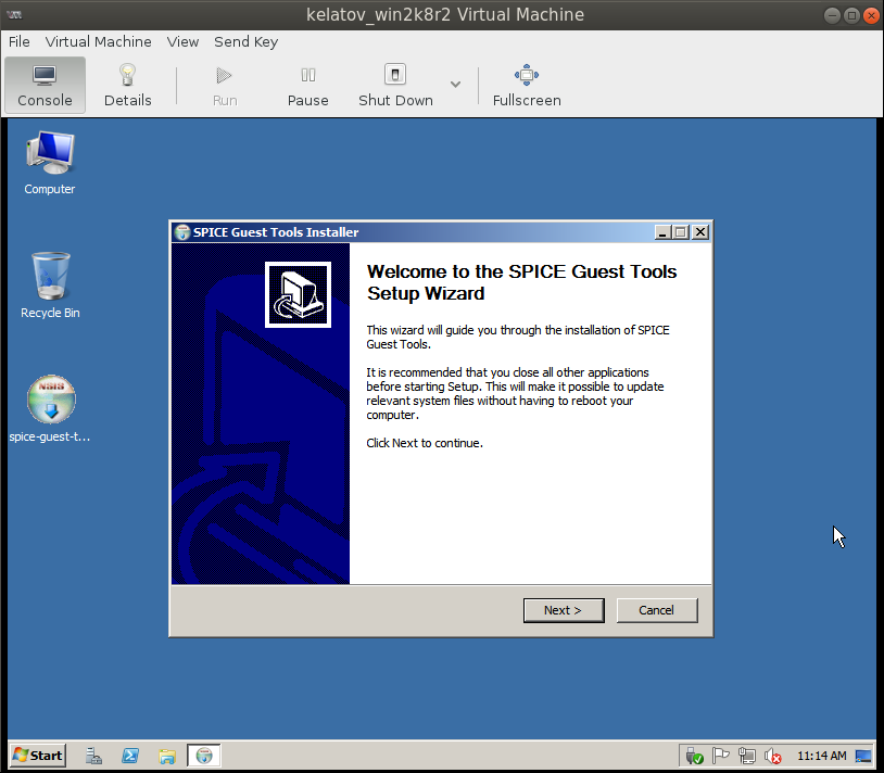 spice installer in VM Deploying a Test Windows Environment in a KVM Infrastucture