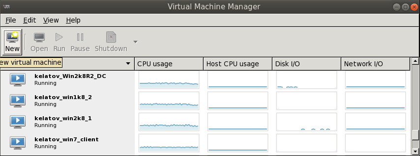 virt manager create new vm button Deploying a Test Windows Environment in a KVM Infrastucture