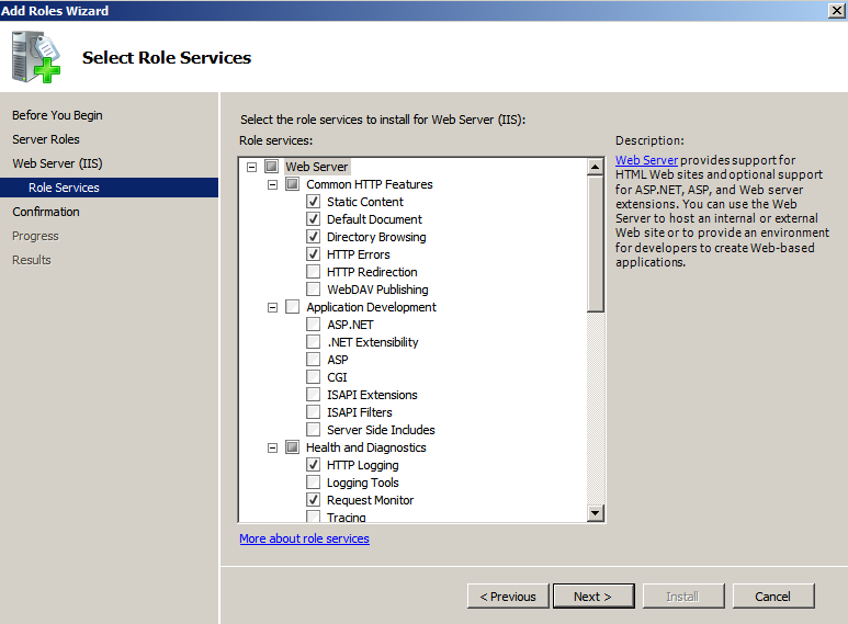 web server role services Deploying a Test Windows Environment in a KVM Infrastucture