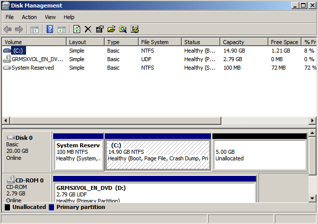 windows disk mgmt Extending the System Drive on Windows 2008 Running Under KVM