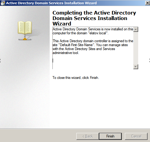ad wizard finished Configure AD Replication with Windows 2008