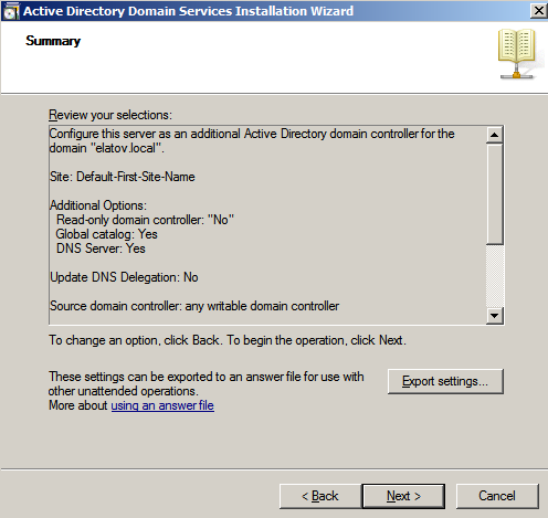 ad wizard summary Configure AD Replication with Windows 2008