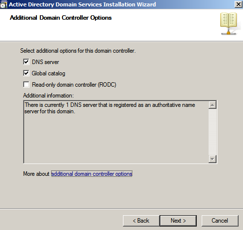 additional dc options Configure AD Replication with Windows 2008
